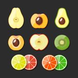 Fruit set. Vector illustration. Stock Images