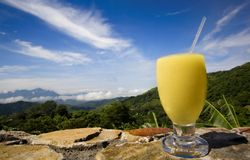 Fruit shake. Yellow fruit shake on a costa rican  view background Stock Photography