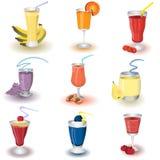 Fruit shake icons. Set of nine different fruit shake icons, vector illustration Stock Photos