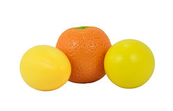 Fruit Shakers. Isolated musical shakers in the shape of oranges and lemons. Ideal for Latin music Royalty Free Stock Image