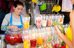 Fruit shakes shop in Chatuchak Weekend Market. Stock Images