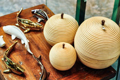 Fruit Shape Container And Golden Fish. For Home Decoration Stock Photography