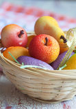 Fruit shaped candies in macro image of marzipan sweets in a bask Royalty Free Stock Photography