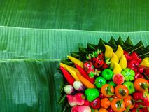 Fruit Shaped Mung Beans in Jelly on banana leaves ,Thai style. Desserts stock photos