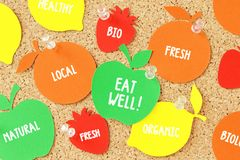 Fruit shaped paper note on pinboard - Healthy eating concept. Fruit shaped paper note on cork pinboard - Healthy eating concept Royalty Free Stock Image
