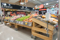 Fruit shelves at Coles supermarket Royalty Free Stock Images