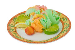 Fruit and sherbert. Healthy sherbert ice cream with fresh fruit Royalty Free Stock Image