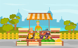 Fruit shop on the background of the city and the park color banner Royalty Free Stock Photos