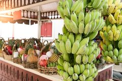 The fruit shop for dedicate, whole banana and fruit set Royalty Free Stock Image