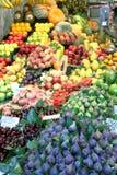 Fruit shop La Boqueria market Barcelona Spain. Fruit on sale La Boqueria food market in Barcelona Catalonia Spain Europe stock photo