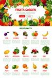 Vector poster template of fruit shop or market. Fruit shop or market landing web page. Vector template for fresh farm garden fruits plum, orange or exotic Stock Image
