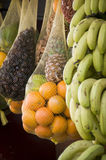 Fruit shop Maroc. Fruit hanging in the sunligt outside a shop at Marrakech, Marocco Royalty Free Stock Photography