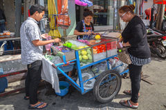 Fruit shop on the streets of Bangkok Stock Photo