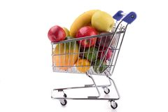 Fruit in shopping cart Royalty Free Stock Image