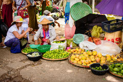 Fruit shopping in Danyingon market, Yangon, Myanmar Stock Image