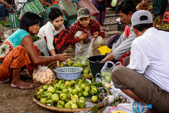Fruit shopping in Danyingon market, Yangon, Myanmar Stock Photo