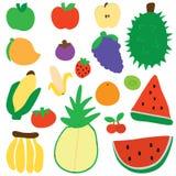 Fruit silhouette color set Stock Photos