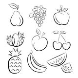 Fruit silhouettes Stock Photography