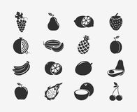 Fruit silhouettes icons. Set of fruit black silhouettes icons. Apple and banana, cherry and citrus, fruit and food, grape and lemon. Vector illustration Stock Photo