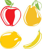 Fruit silhouettes isolated on the white stock images