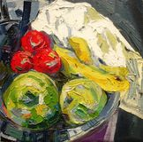 Fruit in silver bowl expressionism acrylic oil painting. Fruit in silver bowl expressionism acrylic oil with tick colors fine painting Stock Photo