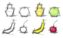 Fruit sketches Stock Photo