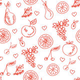Fruit sketchy seamless pattern Royalty Free Stock Photos