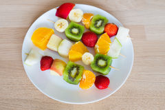 Fruit skewers the concept of healthy eating Stock Photos