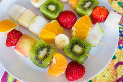Fruit skewers the concept of healthy eating Stock Image