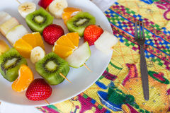 Fruit skewers the concept of healthy eating Stock Images