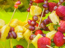 Fruit skewers Stock Photography
