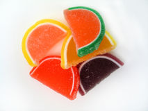 Fruit Slices. Overhead shot of a bunch of sugary candy fruit slices stock photos