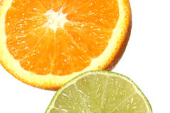 Fruit Slices. Slice of orange and lime Stock Photography