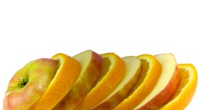 Fruit slices. Close-up over white Royalty Free Stock Photos