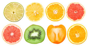 Fruit Slices Collection Isolated Stock Photography