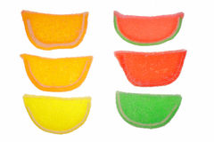 Fruit slices. Colorful old fashioned jellied candies stock photography