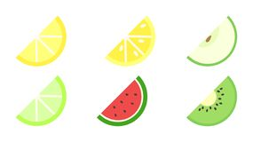 Fruit slices icon pack royalty free illustration