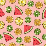Tropical fruits pattern vector illustration