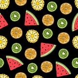 Tropical fruits seamless pattern stock illustration