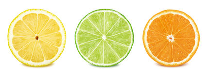 Fruit slices set: lemon, lime, orange. Fruit slices set: lemon, lime, orange Isolated on white stock photography
