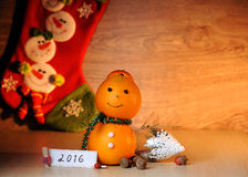 Fruit smile snowman Royalty Free Stock Images