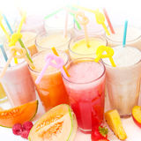Fruit smoothie collection Stock Photos