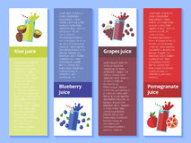 Fruit smoothie collection. Menu element for cafe or restaurant with energetic fresh drink made in flat style. Stock Photography