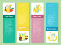 Fruit smoothie collection. Menu element for cafe or restaurant with energetic fresh drink made in flat style. Stock Image