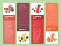 Fruit smoothie collection. Menu element for cafe or restaurant with energetic fresh drink made in flat style. Fresh juice for healthy life. Organic raw shakes stock illustration