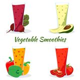 Cartoon smoothies set. Vegetable smoothies in glass isolated on white background vector illustration