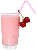 Fruit smoothie decorated pair of cherries Royalty Free Stock Photos