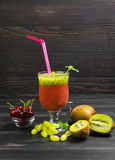 Fruit smoothie drink cocktail of kiwi Stock Photo