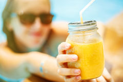Fruit smoothie - healthy eating concept. Close up of  detox smoo Stock Image
