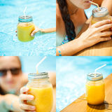 Fruit smoothie - healthy eating concept. Close up of  detox smoo Stock Photo